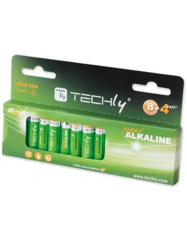 Techly Blister 12 Batterie High Power Mini Stilo AAA Alcaline LR03 1,5V (IBT-KAL-LR03-B12T)
