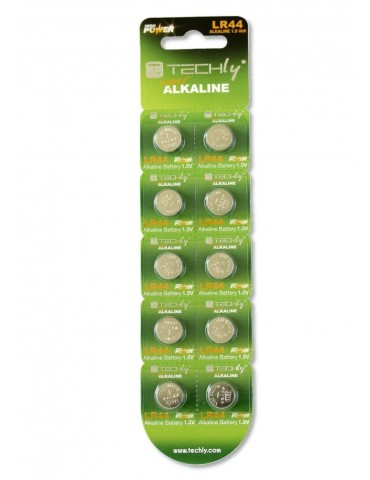 Techly Batteria a Bottone Alcalina AG13 LR44 A76 GP76A 357 (set 10 pz) (IBT-KLR44)