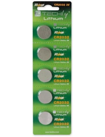 Techly Batterie a Bottone Litio CR2032 (set 5 pz) (IBT-KCR2032)