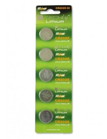 Techly Batterie a bottone Litio CR2025 (set 5 pz) (IBT-KCR2025)