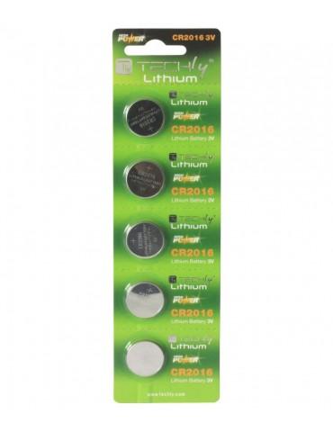 Techly Batterie a Bottone Litio CR2016 (set 5 pz) (IBT-KCR2016)