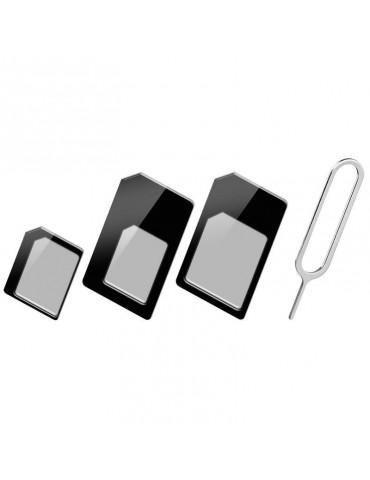 Techly Adattatore Scheda SIM (4 in 1) nano-SIM, Micro-SIM e SIM Nero (I-SIM-3)